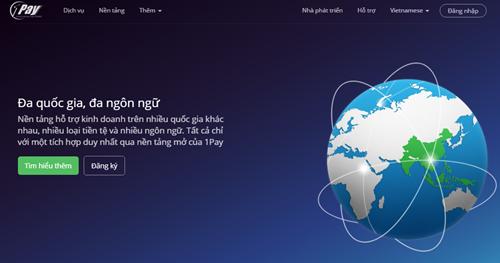Giao diện trang chủ giới thiệu dịch vụ 1Pay tại Việt Nam