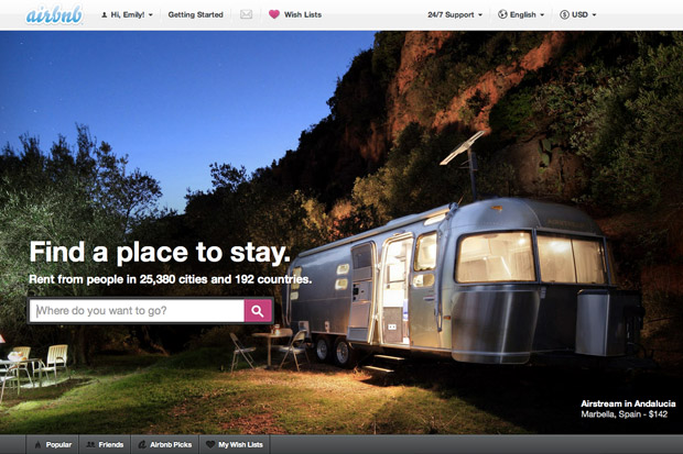Giao Diện website của Airbnb