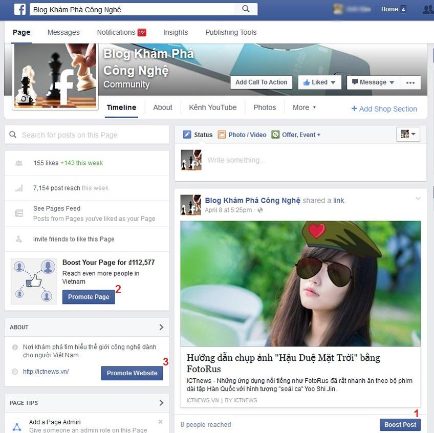 Quảng cáo cho từng bài đăng trên fanpage (1), quảng cáo trực tiếp cho fanpage (2) và quảng cáo thẳng cho nội dung của bạn trên web (3)