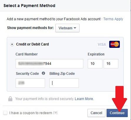 Đây là giao diện điền thẻ thanh toán nếu chưa có