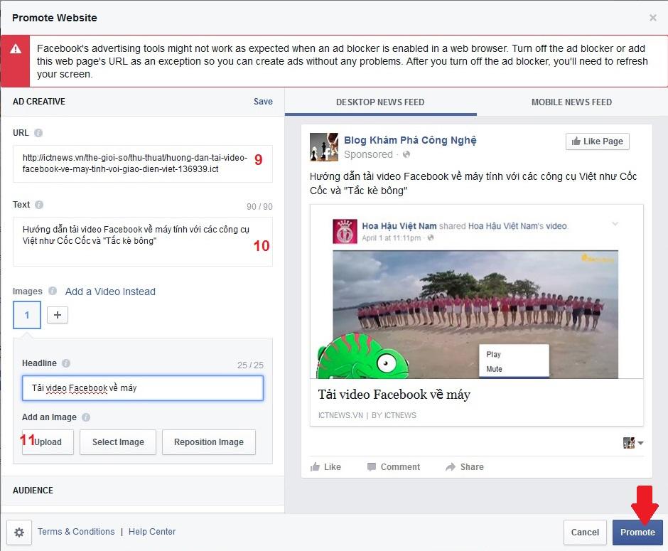 """Việc dùng Facebook quảng cáo nội dung web sẽ mang lại hiệu quả """"click"""" hơn cả cho đường dẫn chúng ta chỉ định (9). Trước khi bấm Promote chúng ta cũng có thể viết lời dẫn (10) và thay ảnh (11) nếu muốn"""