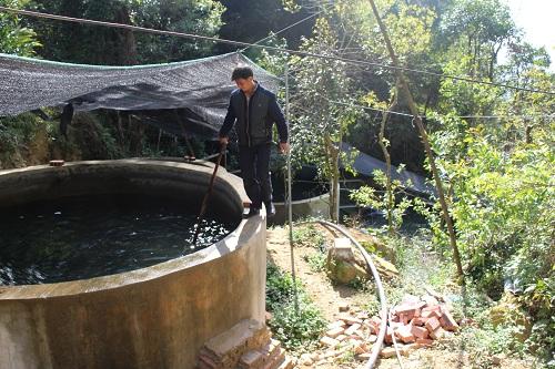 Hệ thống bể nuôi cá hồi của anh Trình trên Mẫu Sơn