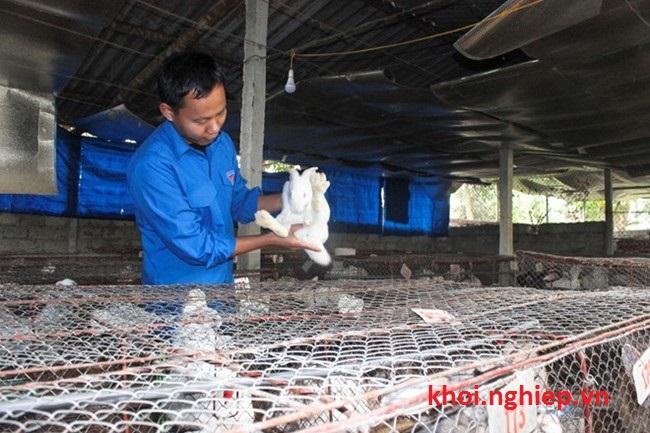 Trần Thanh Cần bên trang trại thỏ của mình