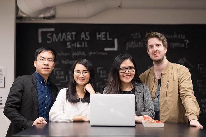 4 nhà sáng lập trẻ của Aurora Digital gồm Minh Đức, Khánh Ngọc, Phương Thảo và Emil (từ trái sang).