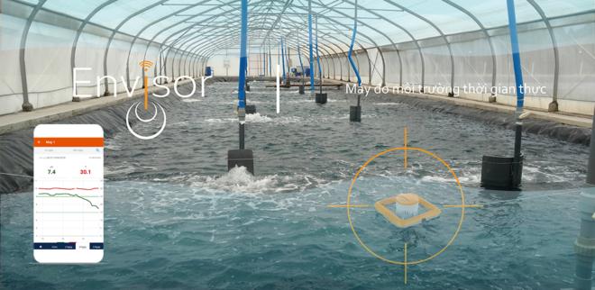 Hệ thống thiết bị đo môi trường Envisor được thiết kế riêng cho ao nuôi trồng thủy sản. Thiết bị có thể đo môi trường nước liên tục gửi về điện thoại những chỉ số mà người nuôi quan tâm như pH, Oxy, Nhiệt độ, Độ mặn& Khi một chỉ số nào đó vượt giới hạn máy sẽ tự động cảnh báo nóng bằng cách gọi điện đến số điện thoại cài đặt trước. Hiện công ty Tepbac tiếp tục phát triển phiên bản có thể đo15 chỉ số môi trường nước.