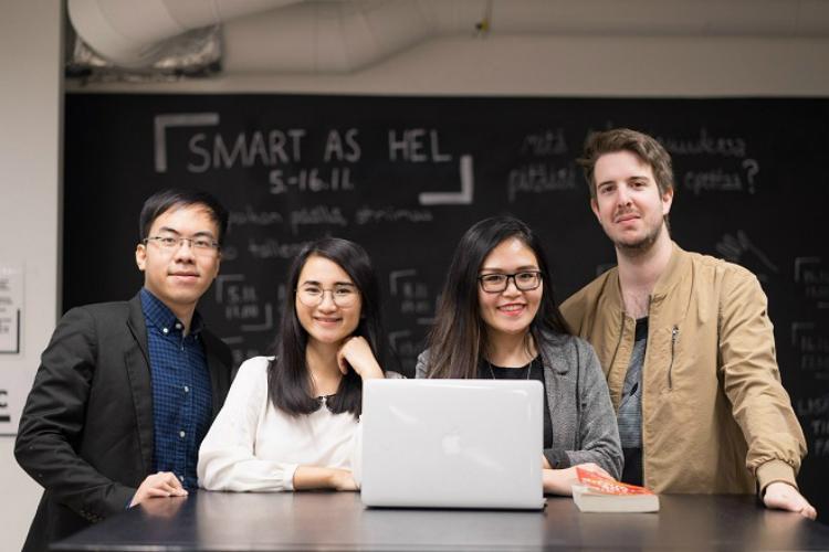 4 nhà sáng lập trẻ của Aurora Digital gồm Minh Đức, Phương Thảo, Khánh Ngọc và Emil Östlin (từ trái sang).