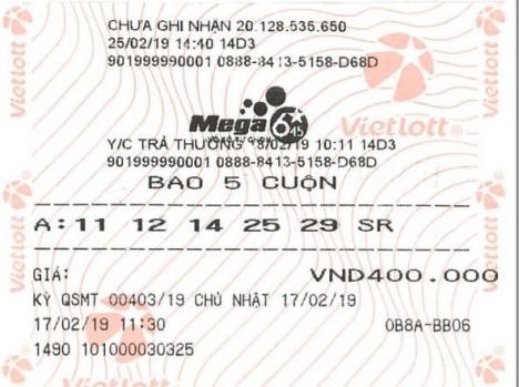 Chiếc vé trúng Jackpot gần 22 tỷ đồng. Ảnh: Vietlott