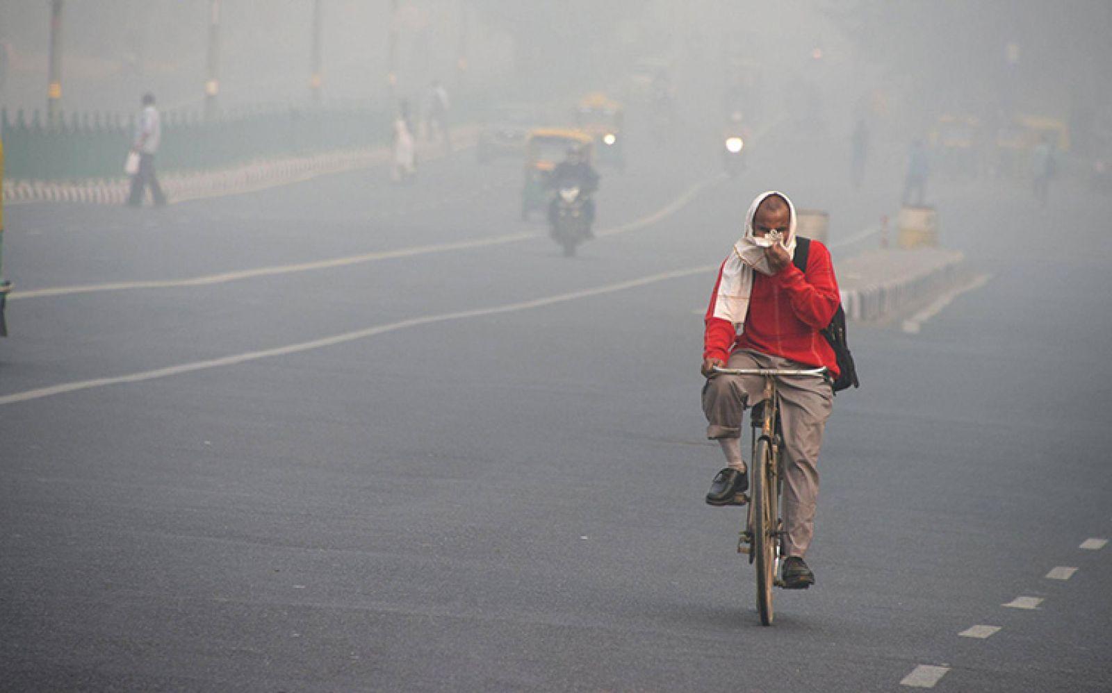 Hiện tượng sương mù do ô nhiễm ở New Delhi. Ảnh: Dominique Faget/Getty Images
