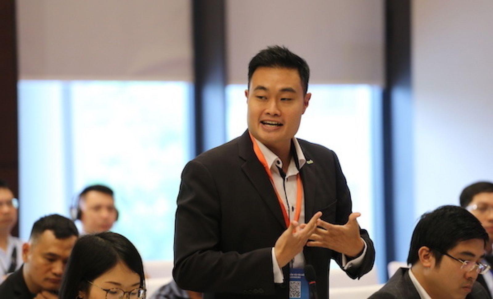 Ông Jerry Lim, CEO Grab Việt Nam phát biểu tại hội nghị.
