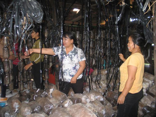 Kỹ sư Hạnh (giữa) hướng dẫn học viên học cách trồng nấm rơm /// QUANG VIÊN