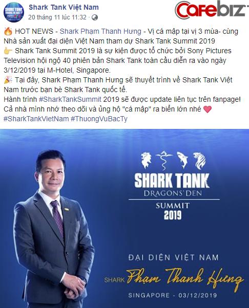 """Shark Hưng sẽ là đại diện Việt Nam duy nhất chuẩn bị tham dự """"Đại hội cá mập"""" Shark Tank Summit 2019, hội ngộ 40 phiên bản toàn cầu - Ảnh 1."""